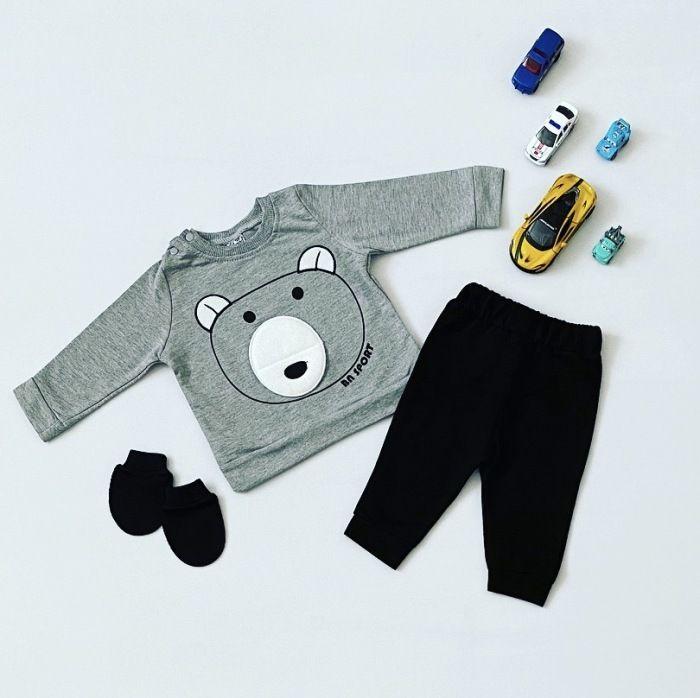 Komplet grey teddy dla chłopczyka 56-92 cm