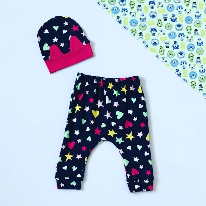 Spodnie gwiazdoland + czapeczka dla dziewczynki 56-92 cm