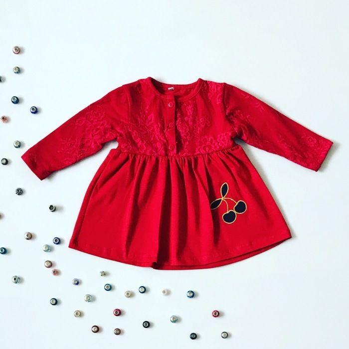 Bluzka red cherry z długim rękawem dla dziewczynki 56-92 cm