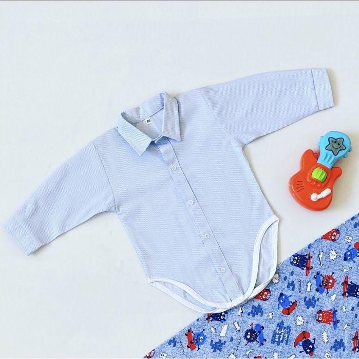Błękitna koszula - body z długim rękawem dla chłopczyka 56-92 cm
