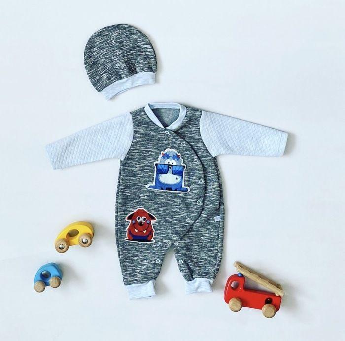 Rampers blue monster + czapka z długim rękawem dla chłopczyka 56-92 cm