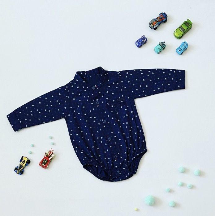 W granatowe listki koszula - body z długim rękawem dla chłopczyka 56-92 cm