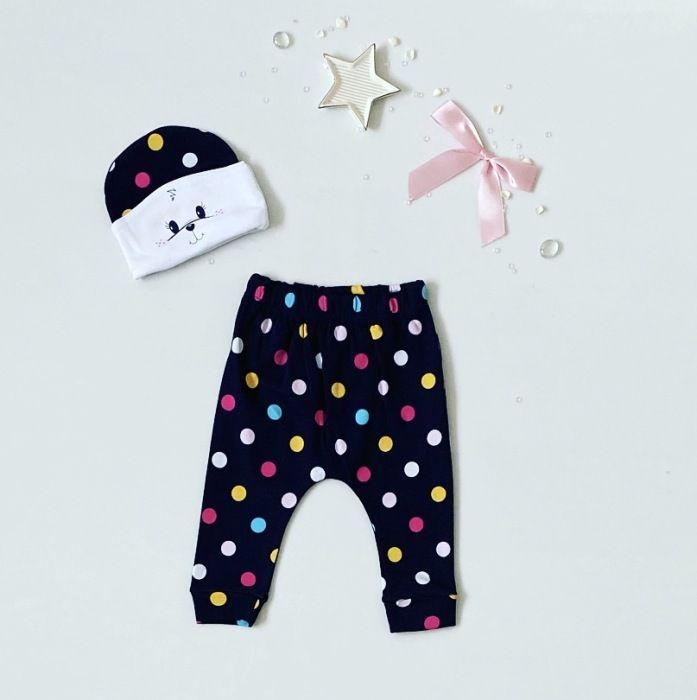 Spodnie grochy + czapeczka dla dziewczynki 56-92 cm