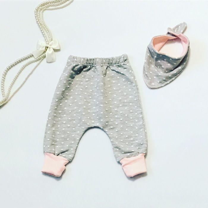 Spodnie kropeczka + apaszka dla dziewczynki 56-92 cm