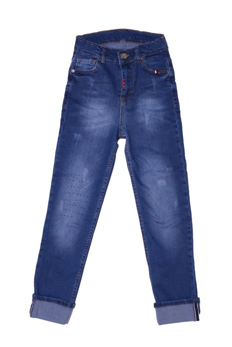 Granatowe podwijane jeansy