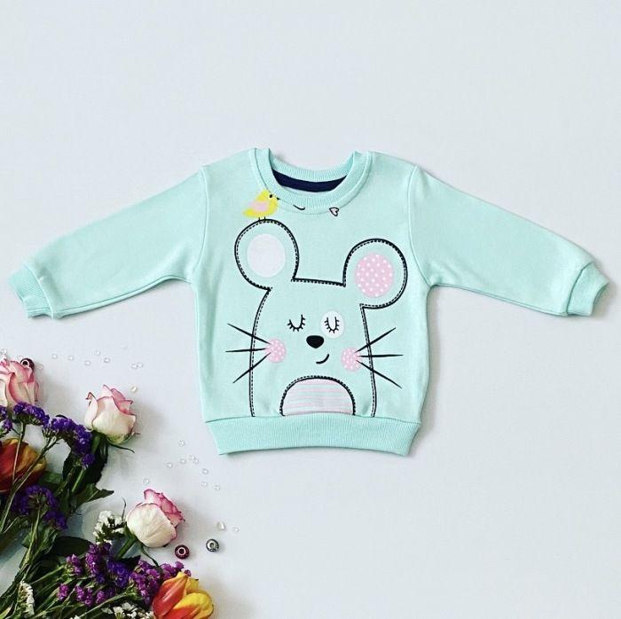 Bluza miętowa myszka dla dziewczynki 56-92 cm