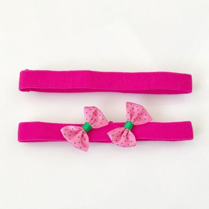 Różowe opaski z kokardką - dwupak dla dziewczynki