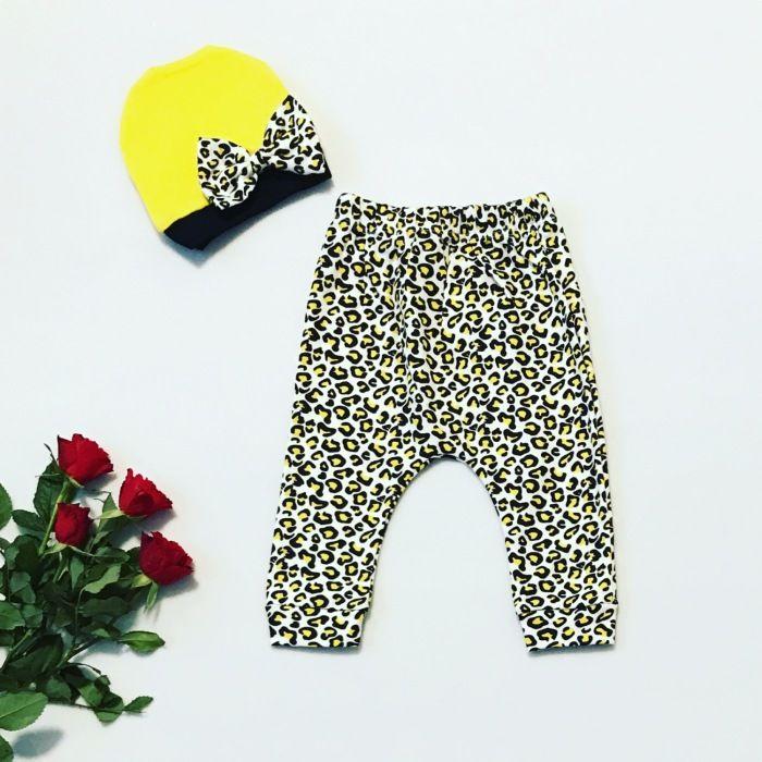 Spodnie pantera + czapeczka dla dziewczynki 56-92 cm