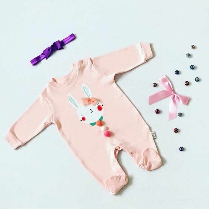 Pajac pink bunny dla dziewczynki 56-92 cm