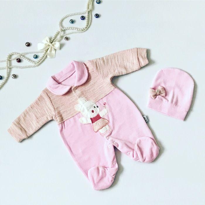 Pajac pink + czapka dla dziewczynki 56-92 cm
