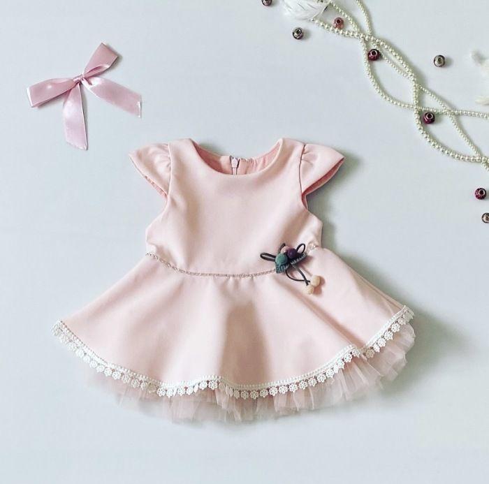 Sukienka pudra dla dziewczynki 56-92 cm