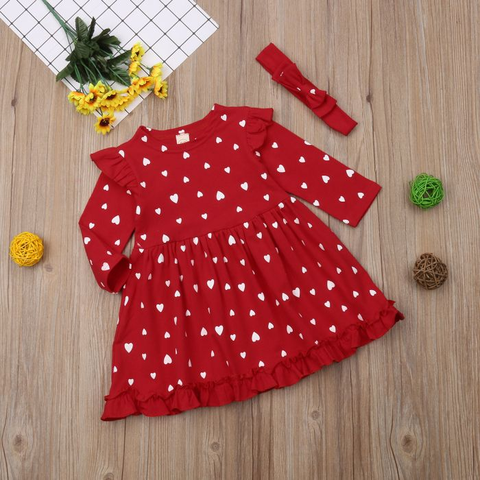 Sukienka w serduszka + opaska dla dziewczynki 56-92 cm