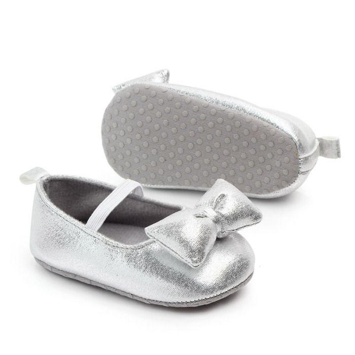Buciki niemowlęce srebrne dla dziewczynki