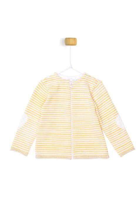 Żółty sweterek w białe paseczki dla dziewczynki 56-92 cm