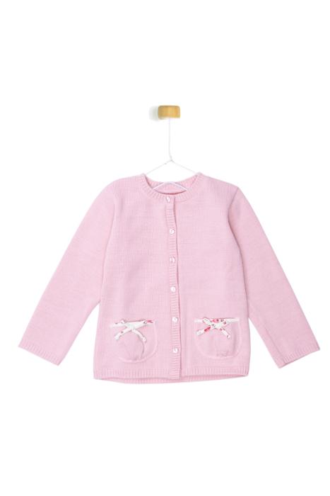Różowy sweterek z kokardkami