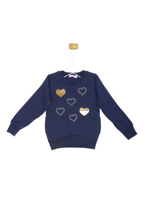 Granatowa bluza z serduszkami